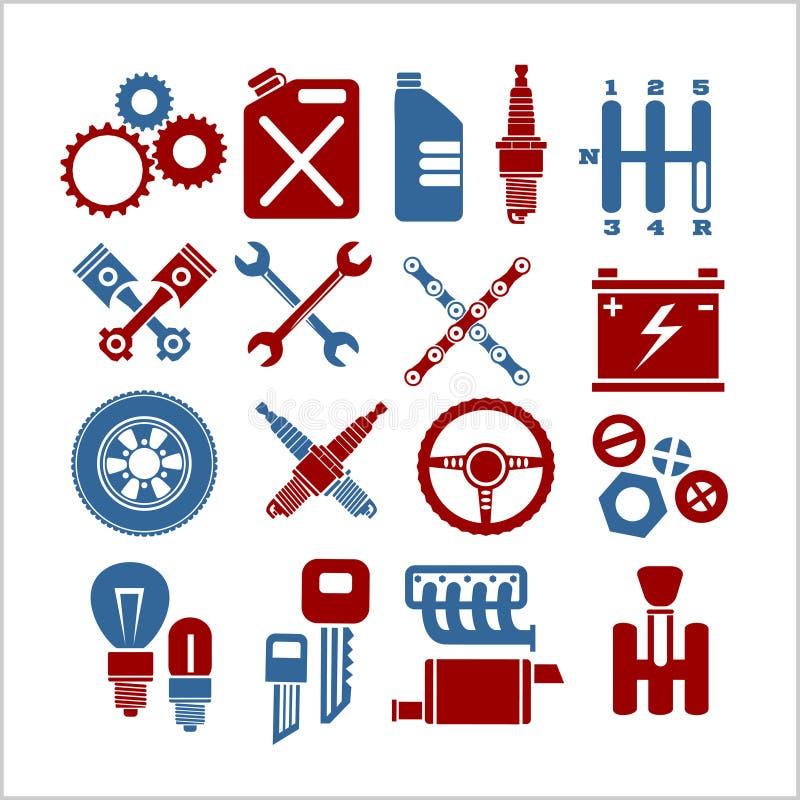 Los iconos de la pieza del coche fijaron en un fondo ligero Vector ilustración del vector
