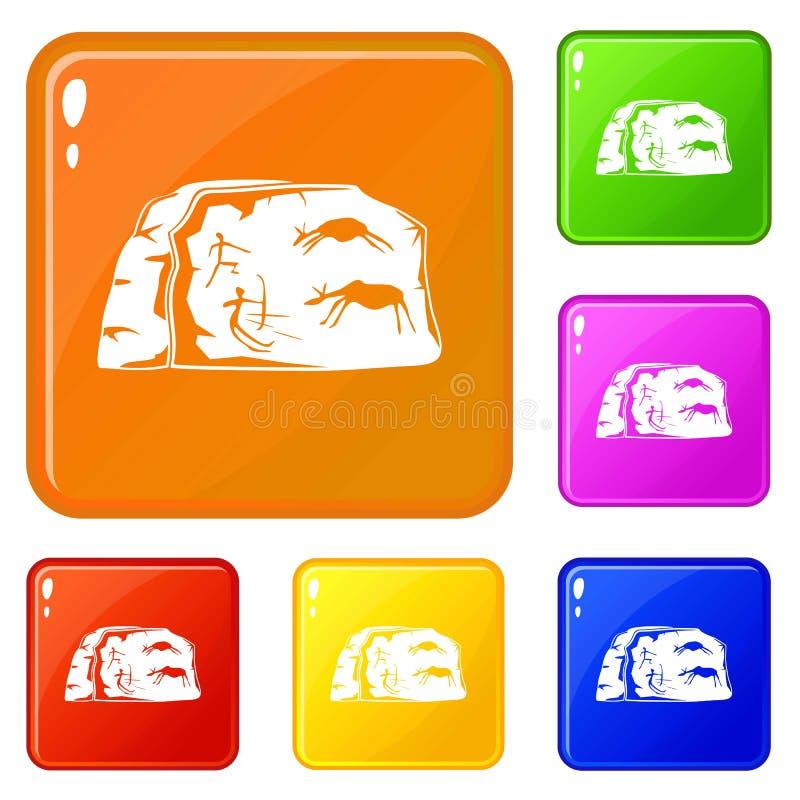 Los iconos de la pintura de cuevas fijaron color del vector stock de ilustración