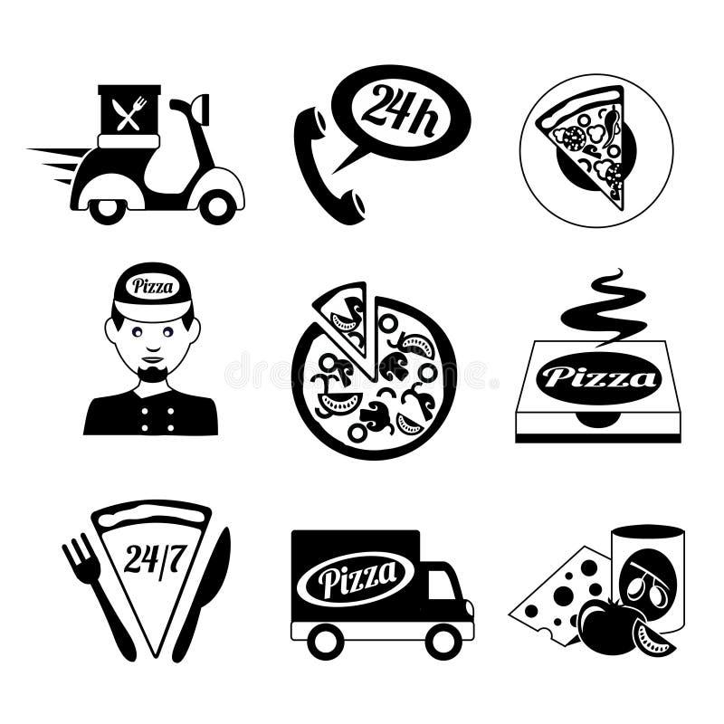 Los iconos de la pizza fijaron blanco y negro ilustración del vector
