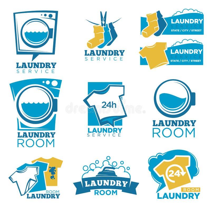Los iconos de la plantilla del vector del servicio de lavadero fijaron del lino, de la lavadora y del detergente libre illustration