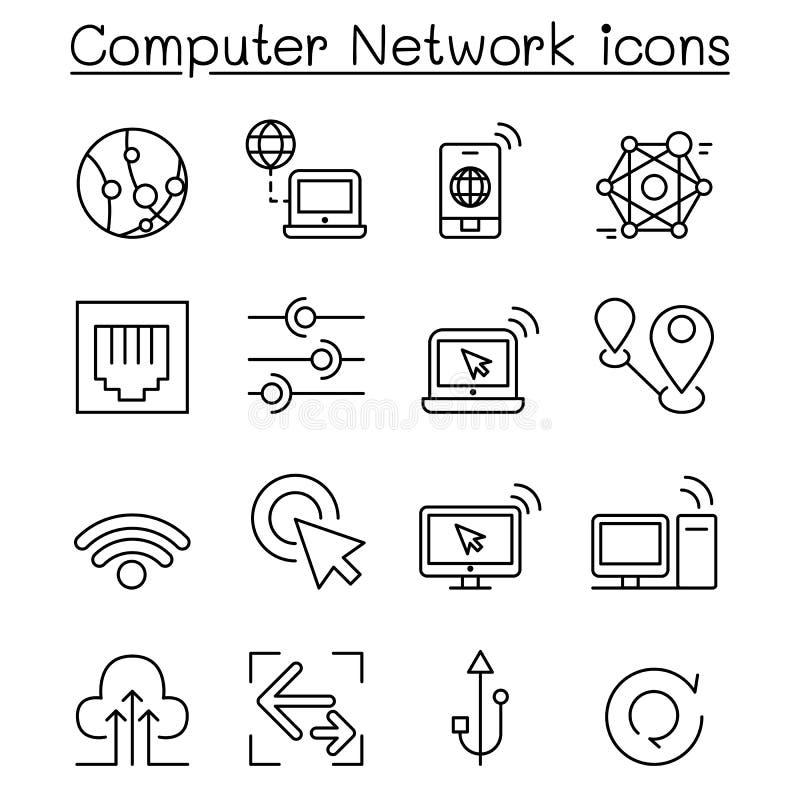 Los iconos de la red de ordenadores fijaron en la línea estilo fina libre illustration