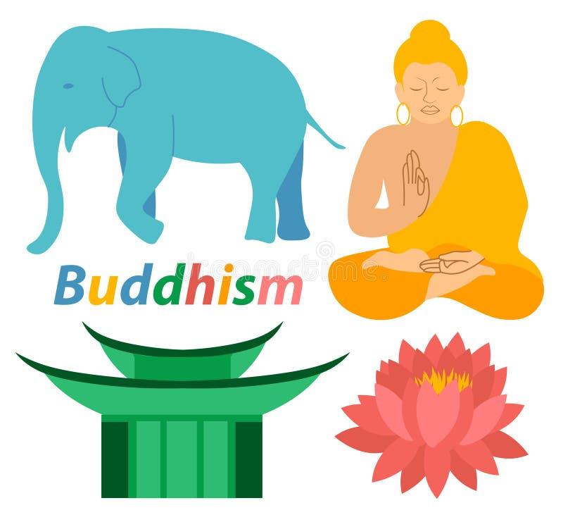 Los iconos de la religión de Buda Lotus Buddhism del elefante imprimen diseño plano colorido del ejemplo moderno de la meditación stock de ilustración