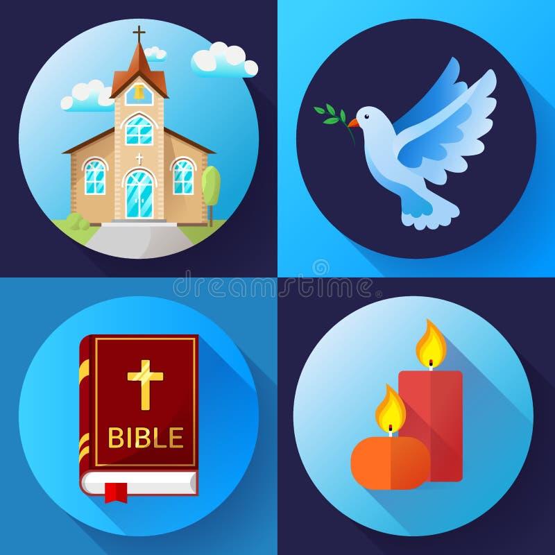 Los iconos de la religión fijaron el ejemplo plano del vector del diseño del color del vector La paloma azul, la iglesia vieja, l libre illustration