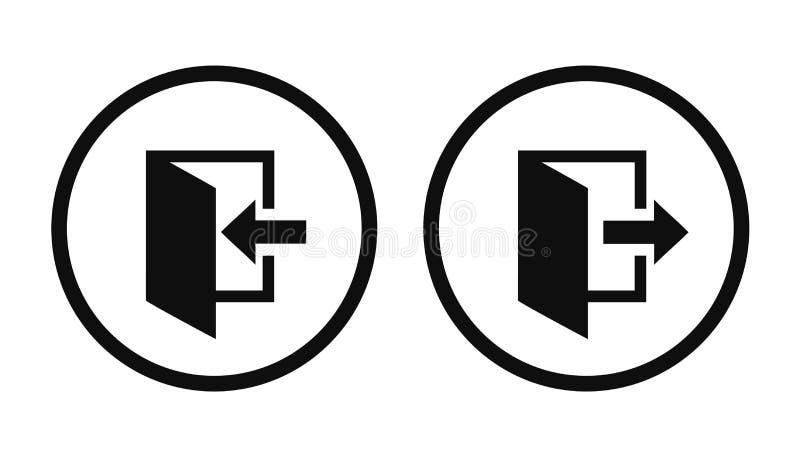 Los iconos de la salida y de la entrada fijaron aislado Deje el símbolo para el sitio web, vector del †de la entrada de la entr libre illustration