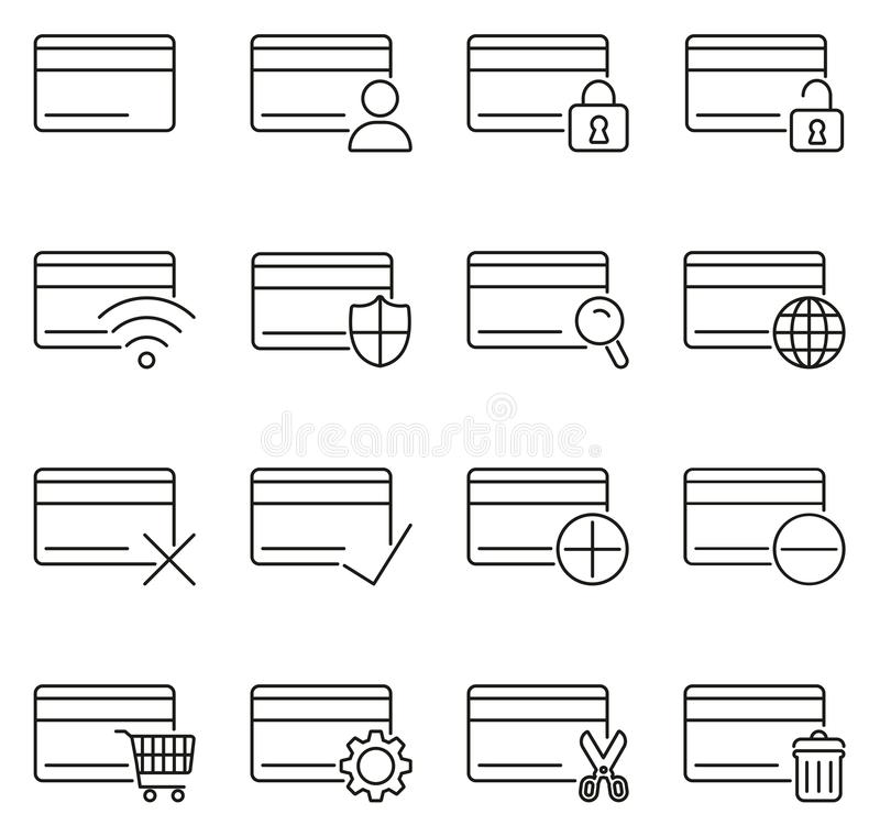 Los iconos de la tarjeta de crédito enrarecen la línea sistema del ejemplo del vector ilustración del vector