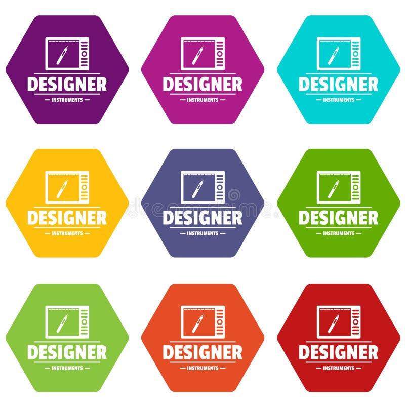 Los iconos de la tienda del diseñador fijaron 9 stock de ilustración