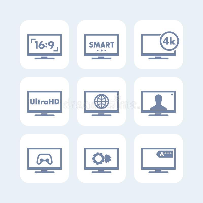 Los iconos de la TV fijaron, relación de aspecto, 4k pantalla, ultra hd stock de ilustración