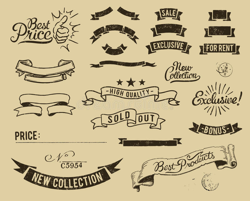 Los iconos de la venta de la vendimia fijaron libre illustration