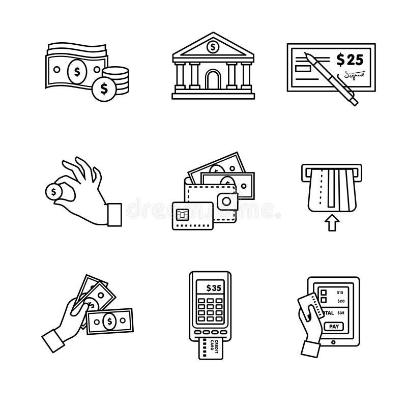 Los iconos de las actividades bancarias enrarecen la línea sistema del arte currency libre illustration