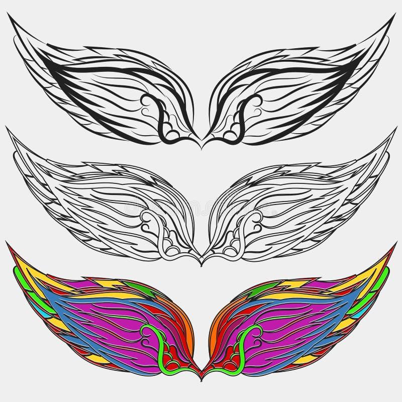 Los iconos de las alas fijaron el ejemplo EPS 10 del pájaro ilustración del vector