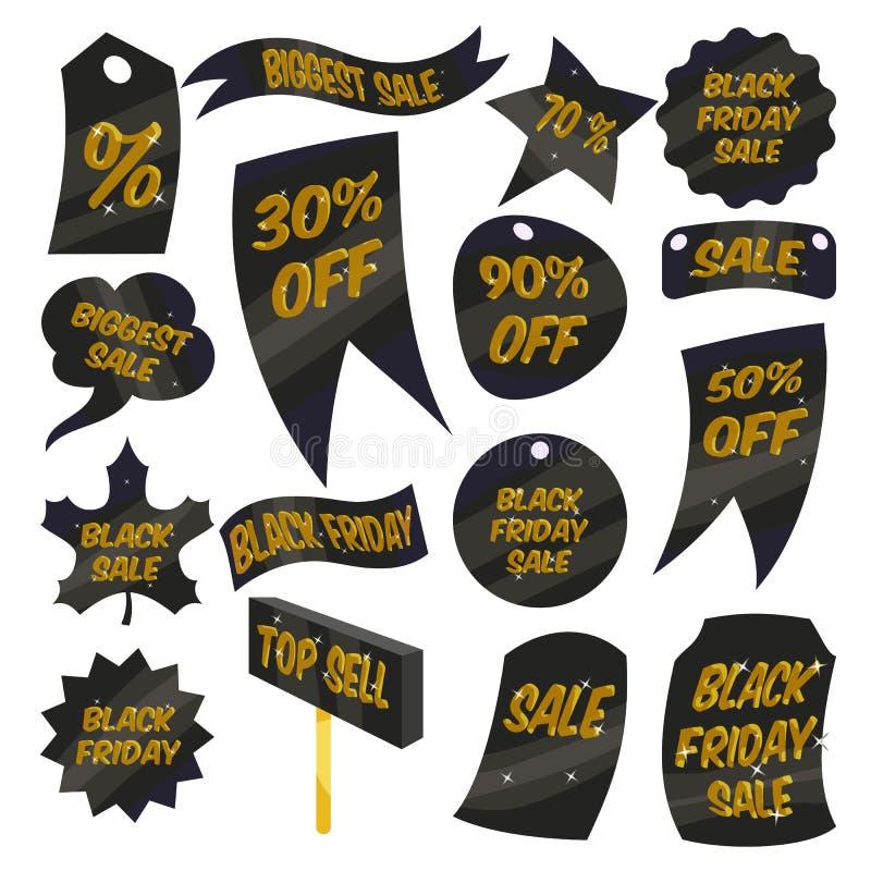 Los iconos de las etiquetas de las ventas de Black Friday fijaron, estilo de la historieta stock de ilustración