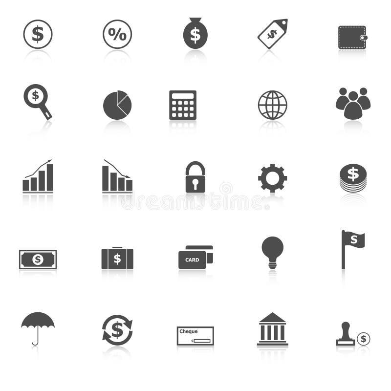 Los iconos de las finanzas con reflejan en el fondo blanco libre illustration