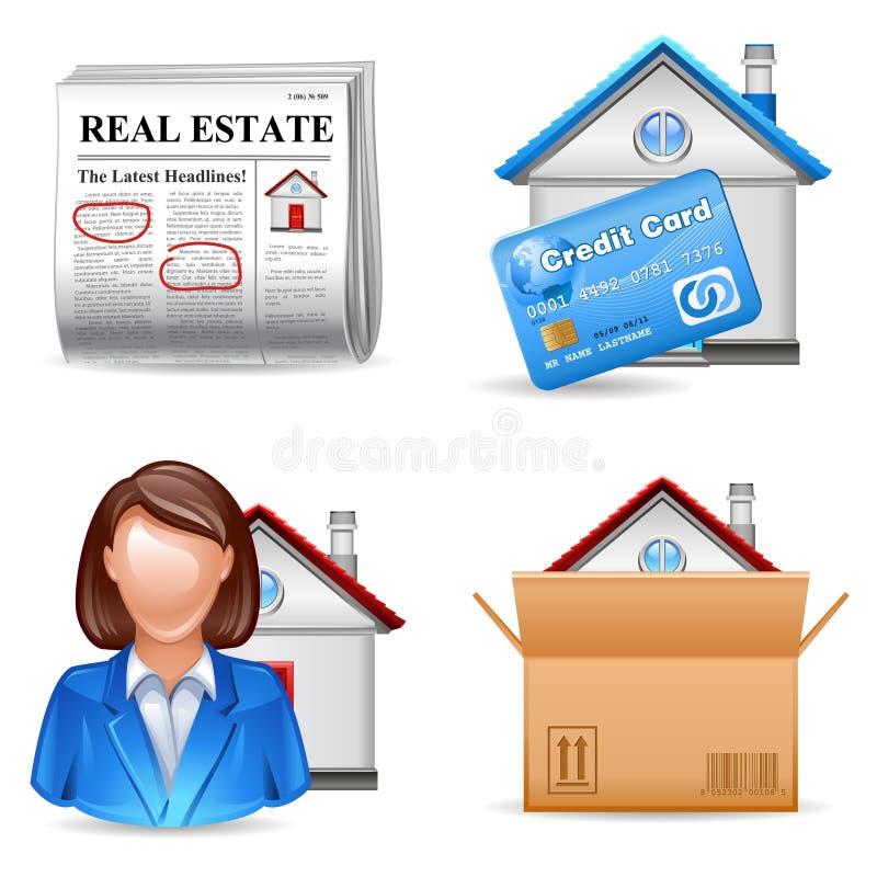 Los iconos de las propiedades inmobiliarias fijaron 2 ilustración del vector