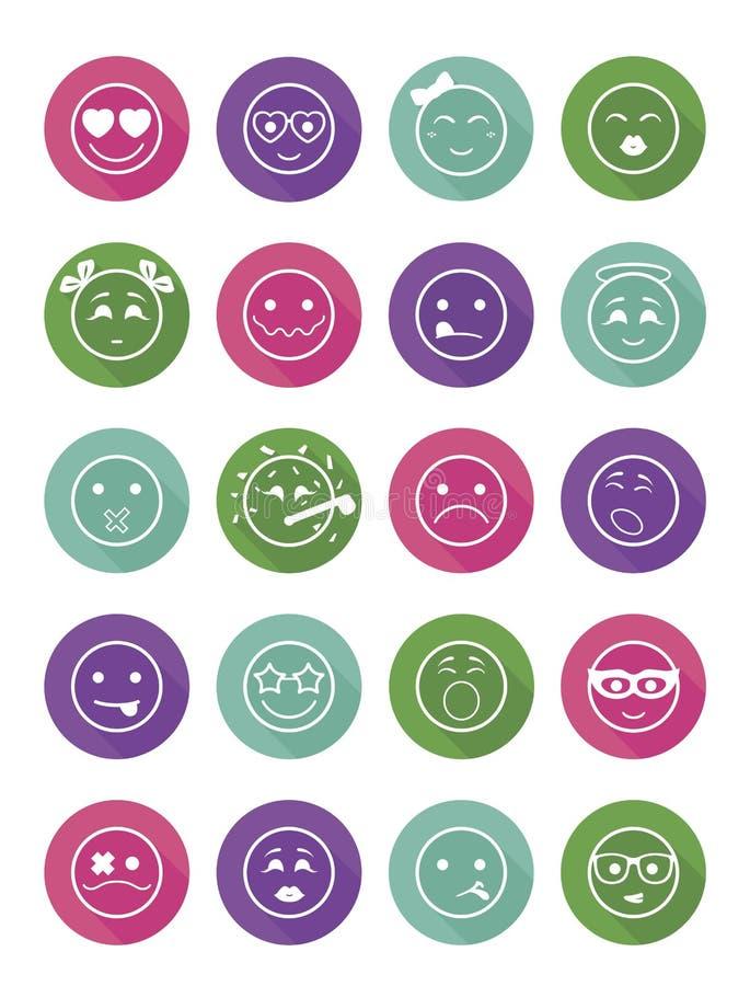 Los iconos de las sonrisas fijaron muchachas y a muchachos del niño ilustración del vector