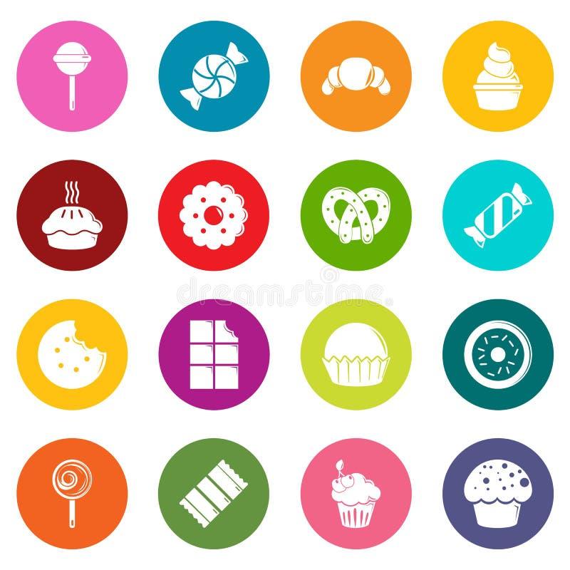 Los iconos de las tortas del caramelo de los dulces fijaron vector colorido de los círculos stock de ilustración