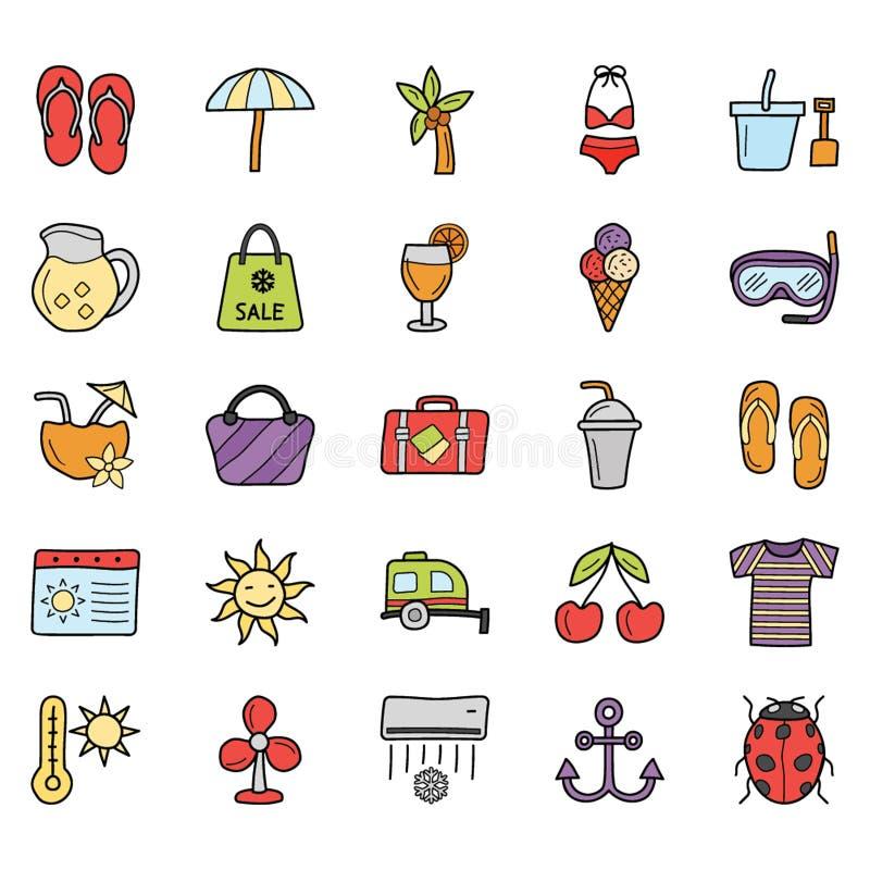 Los iconos de las vacaciones de verano embalan libre illustration