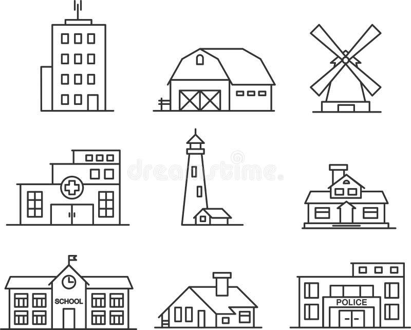 Los iconos de los edificios fijaron stock de ilustración