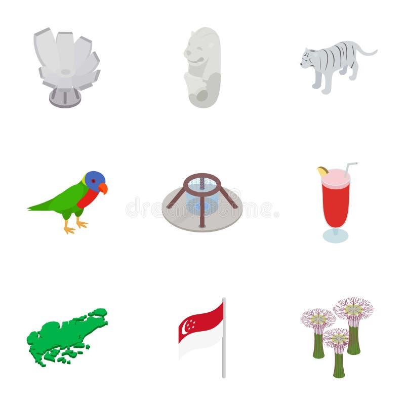 Los iconos de los elementos de Singapur fijaron, el estilo isométrico 3d libre illustration