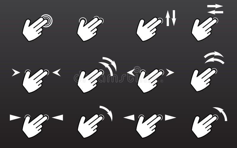 Los iconos de los gestos del tacto fijados con el golpecito de las manos giran el golpe fuerte de la prensa libre illustration
