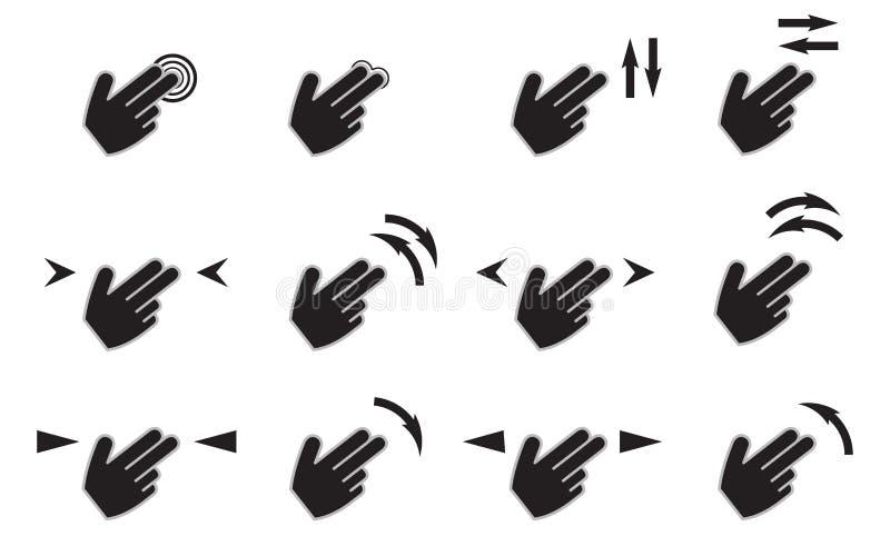 Los iconos de los gestos del tacto fijados con el golpecito de las manos giran el golpe fuerte de la prensa aislado stock de ilustración