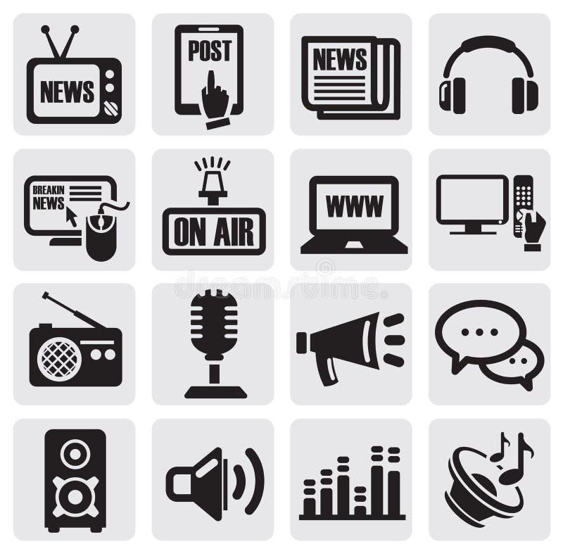 Los iconos de los media fijaron stock de ilustración