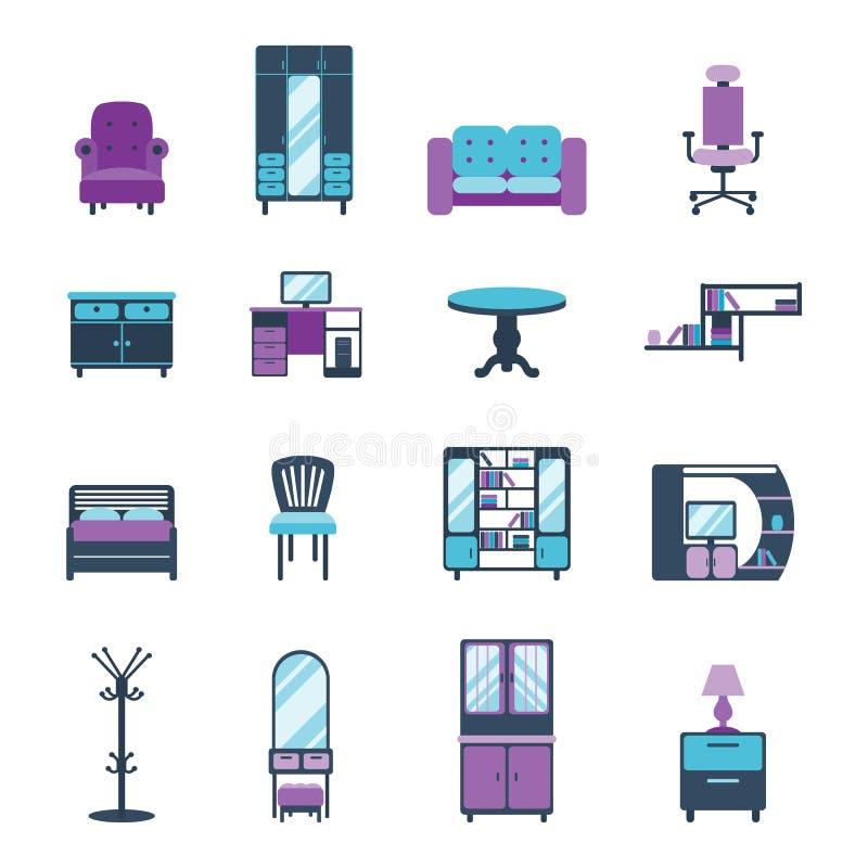 Los iconos de los muebles se dirigen el ejemplo equipado sala de estar moderna del vector de los símbolos del apartamento del dis stock de ilustración
