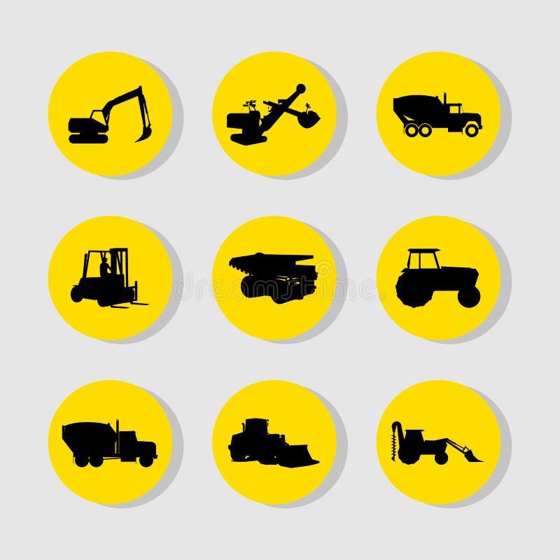 Los iconos de los vehículos de la construcción fijaron grande para cualquier uso Vector eps10 libre illustration