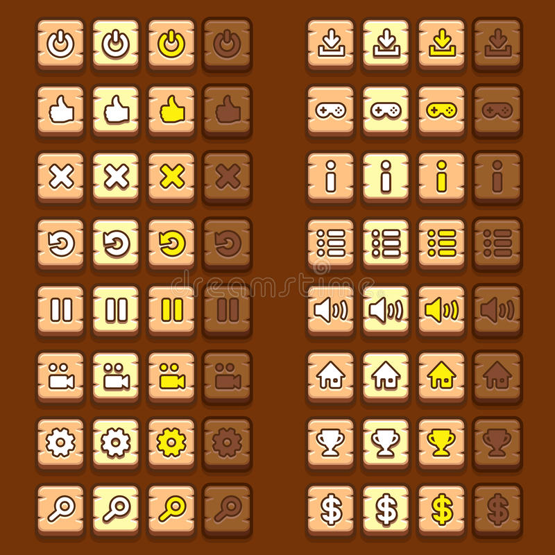 Los iconos de madera del juego abotonan los iconos, interfaz, ui stock de ilustración