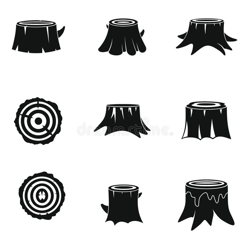 Los iconos de madera del registro del árbol de los tocones fijaron estilo simple libre illustration
