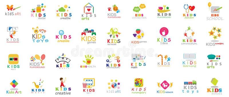 Los iconos de los niños Sistema-aislaron en Gray Background Ejemplo del vector, diseño gráfico stock de ilustración