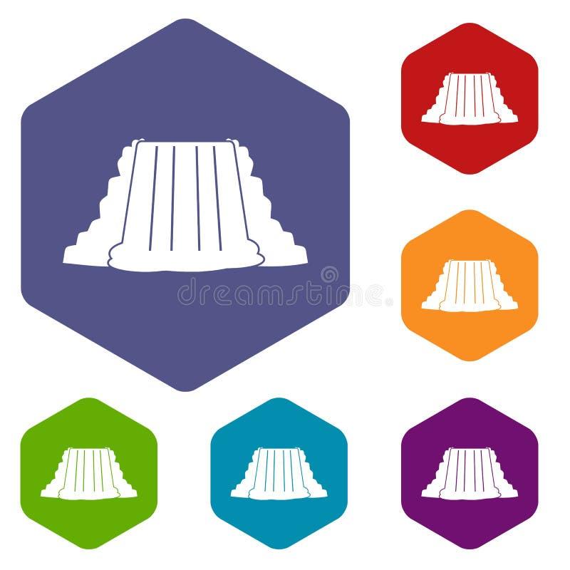 Los iconos de Niagara Falls fijaron hexágono ilustración del vector