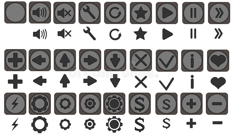 Los iconos de Qualiti fijaron, los iconos completos pac, iconos para los apps, juego, interfaz móvil, flechas, remiten detrás, iz stock de ilustración