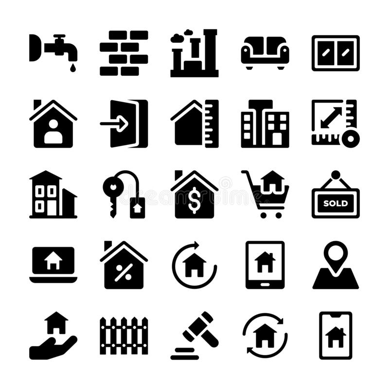 Los iconos de Real Estate embalan libre illustration