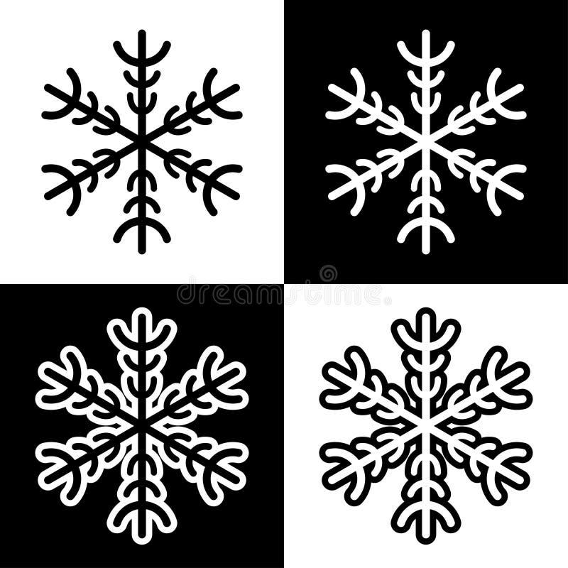 Los iconos de los símbolos del copo de nieve firman el sistema coloreado blanco y negro simple de los logotipos stock de ilustración