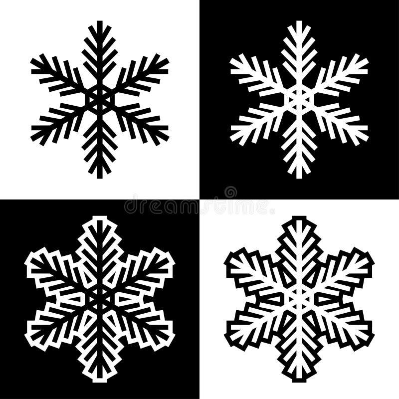 Los iconos de los símbolos del copo de nieve firman el sistema coloreado blanco y negro simple 2 de los logotipos stock de ilustración