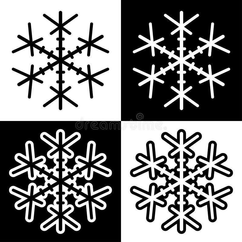 Los iconos de los símbolos del copo de nieve firman el sistema coloreado blanco y negro simple 4 de los logotipos stock de ilustración