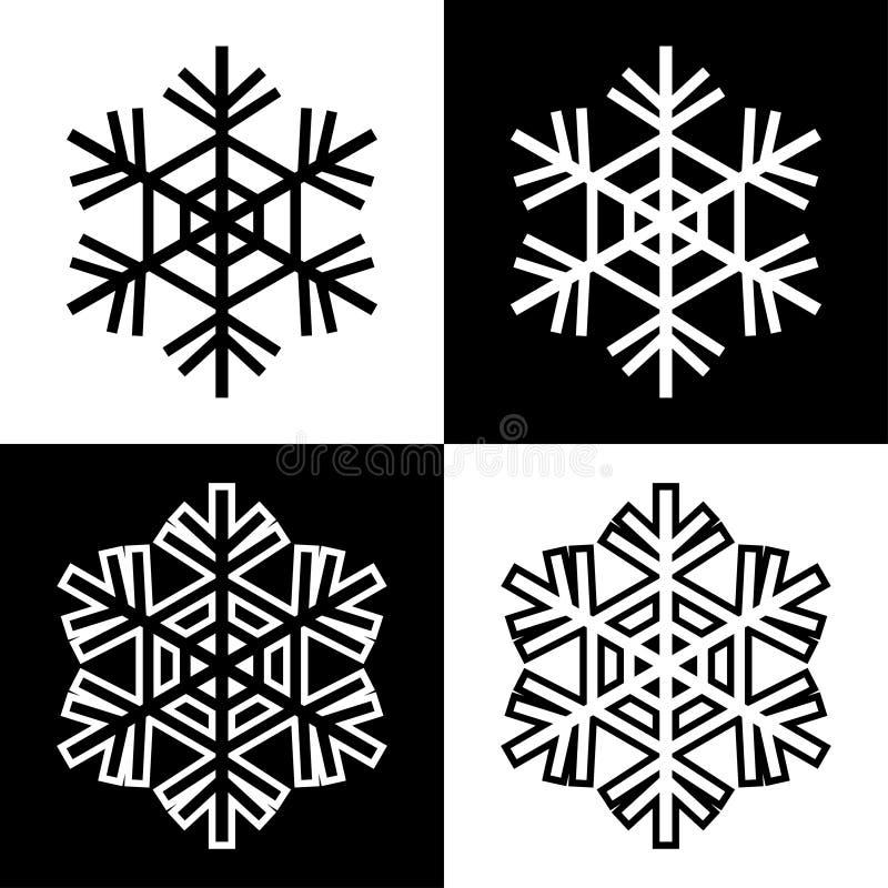 Los iconos de los símbolos del copo de nieve firman el sistema coloreado blanco y negro simple 5 de los logotipos stock de ilustración