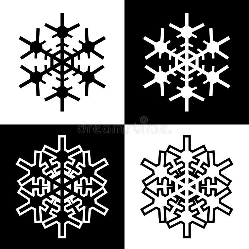 Los iconos de los símbolos del copo de nieve firman el sistema coloreado blanco y negro simple 6 de los logotipos stock de ilustración