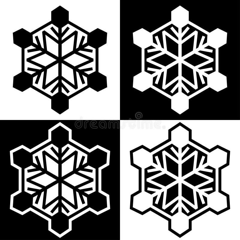 Los iconos de los símbolos del copo de nieve firman el sistema coloreado blanco y negro simple 7 de los logotipos stock de ilustración