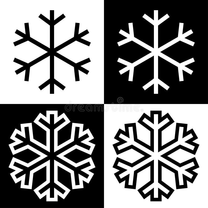 Los iconos de los símbolos del copo de nieve firman el sistema coloreado blanco y negro simple 8 de los logotipos stock de ilustración