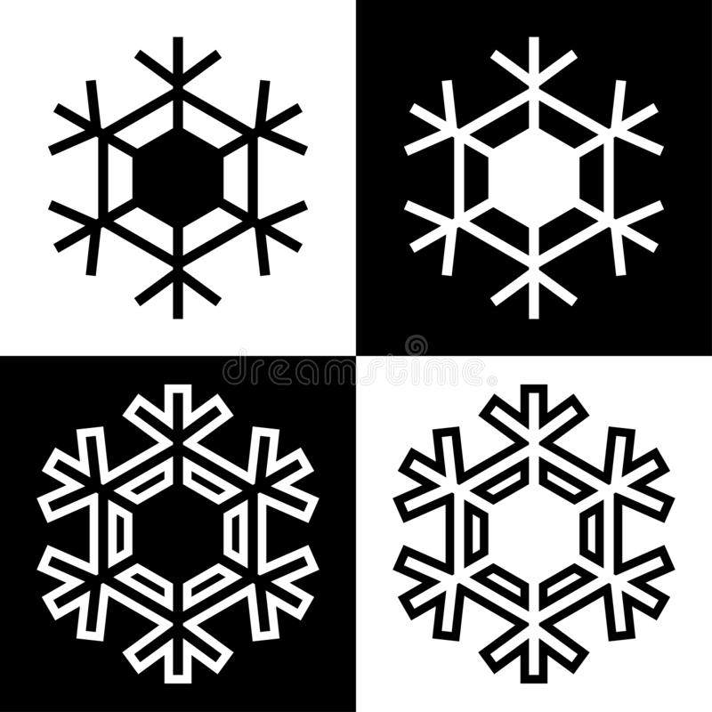 Los iconos de los símbolos del copo de nieve firman el sistema coloreado blanco y negro simple 9 de los logotipos libre illustration