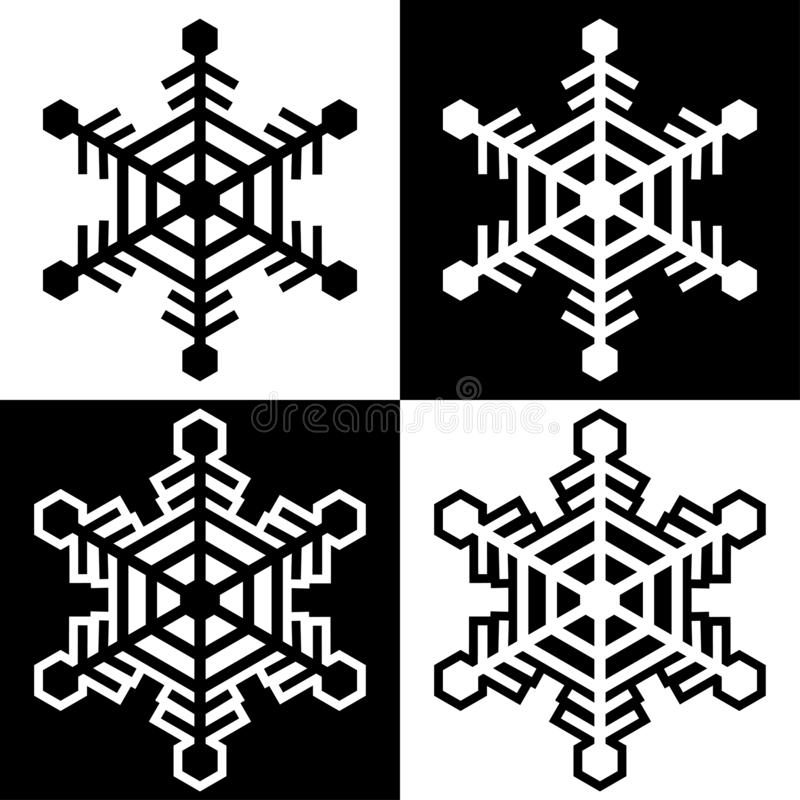Los iconos de los símbolos del copo de nieve firman el sistema coloreado blanco y negro simple 10 de los logotipos libre illustration