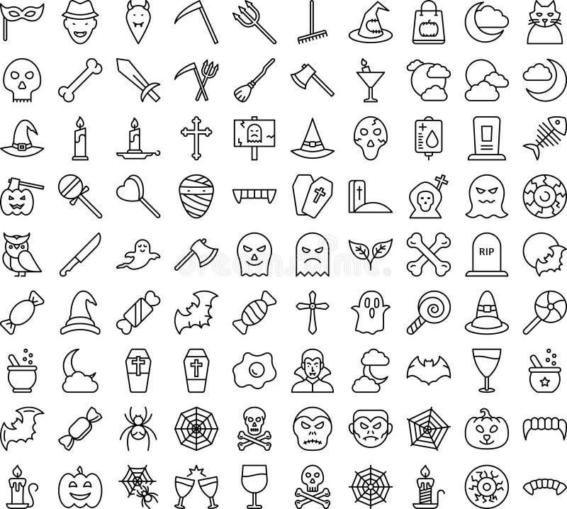 Los iconos de vectores aislados de Halloween establecen que cada icono puede modificarse o editarse fácilmente imagen de archivo