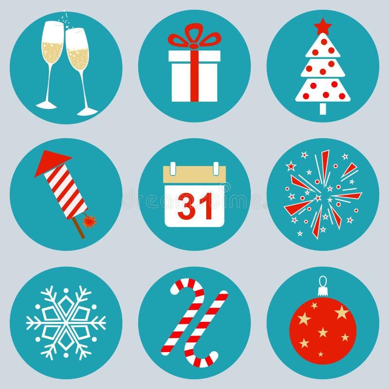 Los iconos del Año Nuevo libre illustration