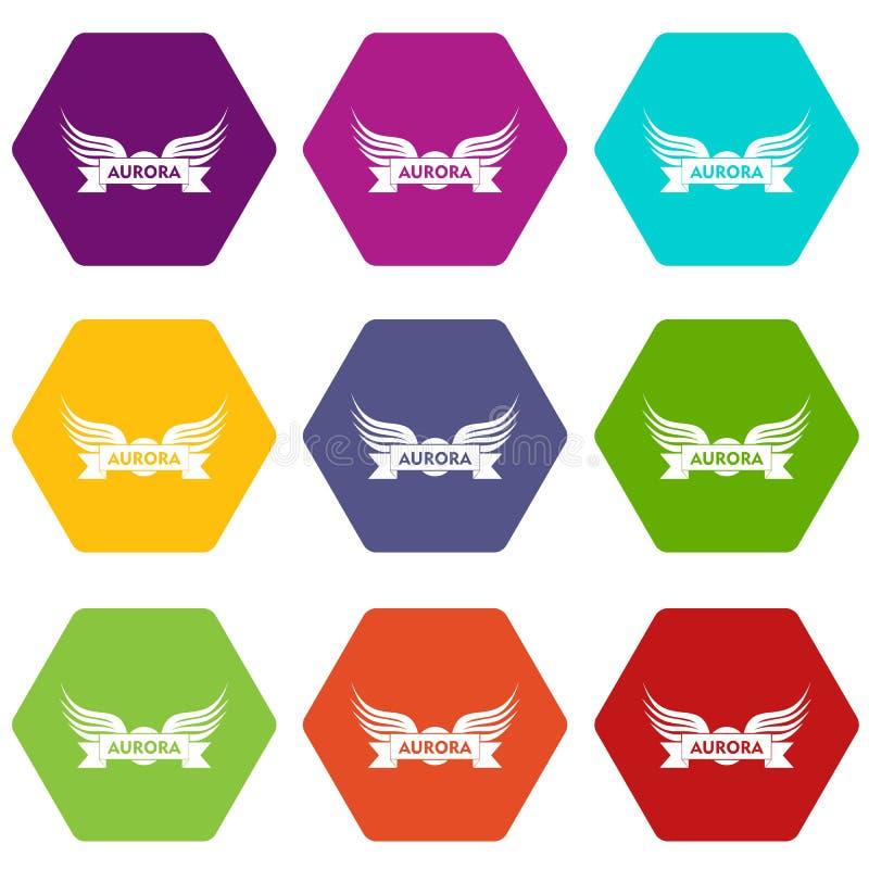 Los iconos del ala de la aurora fijaron el vector 9 stock de ilustración
