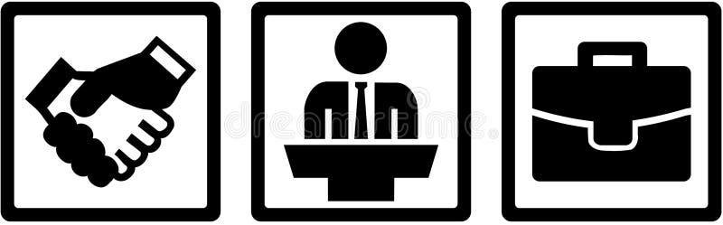 Los iconos del alcalde triplican - sacuda las manos, el podio y el bolso stock de ilustración