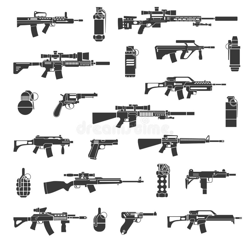 Los iconos del arma y el militar o la guerra firma vector libre illustration