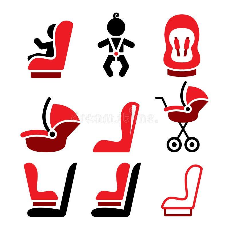 Los iconos del asiento de carro del bebé, andan tambaleándose el asiento de carro - iconos que viajan del niño seguro stock de ilustración