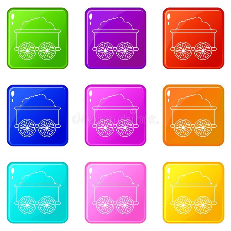 Los iconos del carro del tren fijaron la colección de 9 colores ilustración del vector
