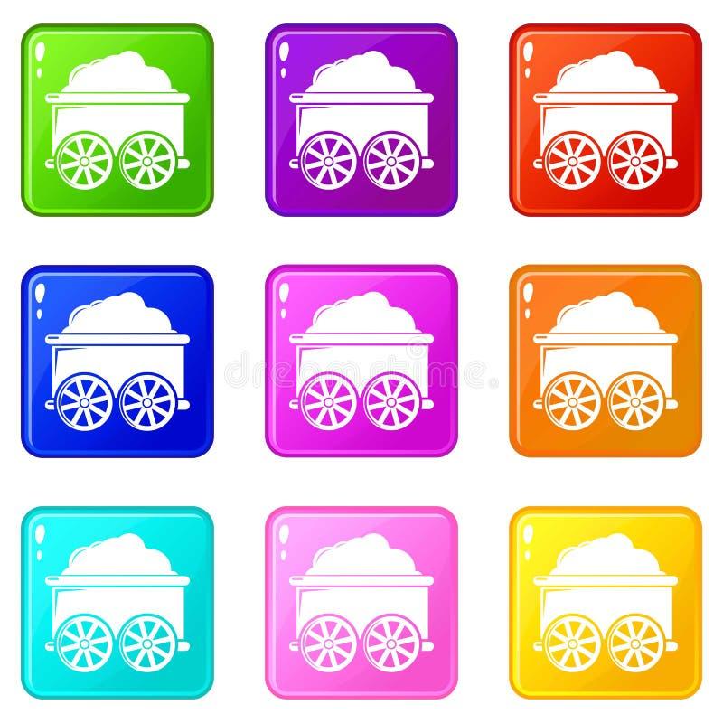 Los iconos del carro del tren fijaron la colección de 9 colores libre illustration